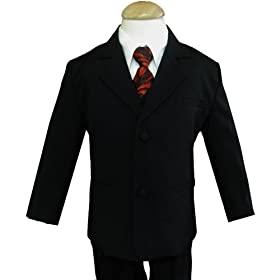 Gino Wedding Formal Boy Black Suit with Burgundy Tie Sizes Baby to Teen