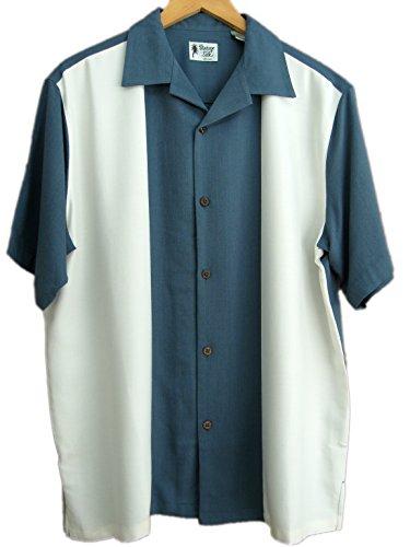 Mens silk retro bowling shirt panel casual xxl blue for Mens silk shirts amazon