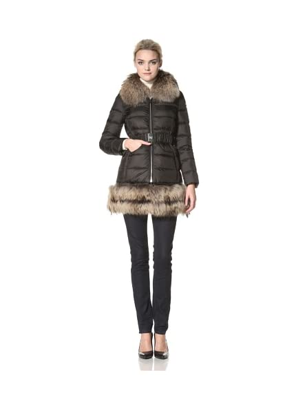 Dawn Levy Women's Alexa Belted Down Coat with Fur Trim