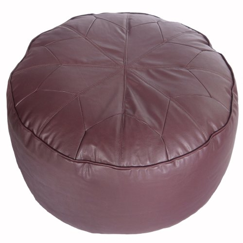Faux Leather Brown Moroccan Extra Large Stacking Footstool Bean Bag with Filling