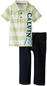 Calvin Klein Boys 2-7 Striped Polo with Jean 4-7 by Calvin Klein