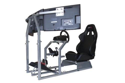 GTR Racing Simulator Seat - GTA-F Model Triple or Single Monitor Stand with Adjustable Leatherette Seat, Racing Simulator Cockpit gaming chair Single Monitor Stand (Fanatec Csr Racing Wheel compare prices)