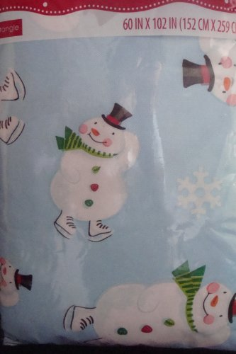 Holiday Time Snowman Vinyl Tablecloth 60 in X 102 in