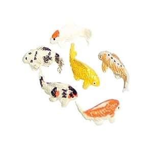 Dollhouse miniature set of six koi fish toys for Koi fish games