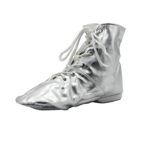 Msmushroom Pu Women'S Jazz Dance Boots Silver,6.5 M Us