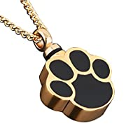 Ashes Pet Dog/Cat Paw Print Cremation Urn Necklace Memorial Holder Gold Plated Pendant