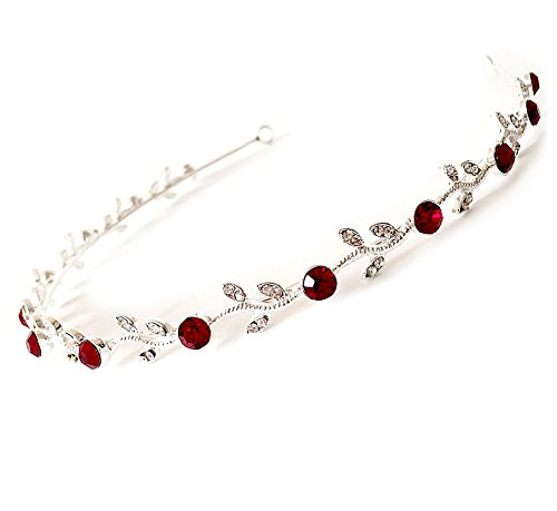 USABride Wedding Headband with Red Rhinestones, Special Occasion Bridal Headband 126R