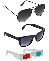 Hrinkar Aviator Sunglasses + Foldable Wayfarer Sunglasses + 3d Glasses - SUN3040