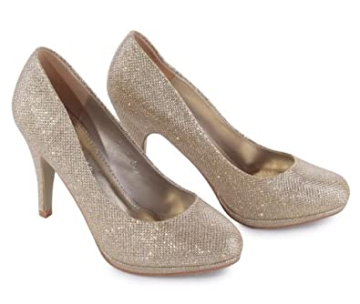 Glitzer Abend Hochzeit Schuhe Party Schuhe Pumps High Heels, Größe:36;Farbe:Gold