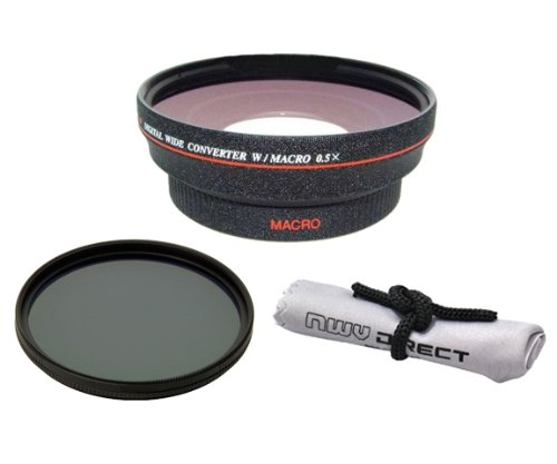 58mm 0.5x Super Wide Angle Lens With Macro (Wider Alternative To Panasonic DMW-LWA52) + Stepping Ring (52-58mm) + 82mm Circular Polarizing Filter + Nwv Direct Micro Fiber Cleaning Cloth (Through Alternative Lenses compare prices)