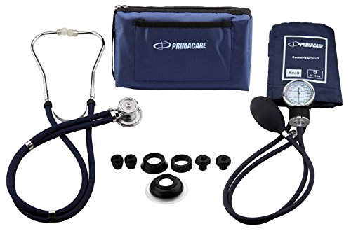 Primacare DS-9181-BL Professional Blood Pressure Kit, Includes an Aneroid Sphygmomanometer and Sprague Rappaport Stethoscope, Blue