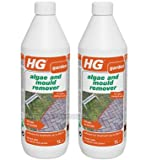 Pack of 2 x HG Algae and Mould Remover 1 Litre - Green Slime, Moss, Algae Remover