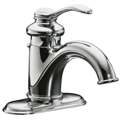 KOHLER K-12181-CP Fairfax 4 In. Centerset Bathroom Sink Faucet with Single Lever Handle, Polished Chrome