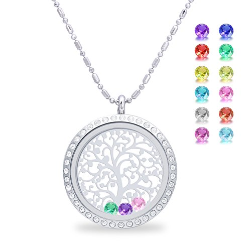 Family Tree of life Screw Floating Charm Living Memory Locket Pendant, Stainless Steel Toughened Glass Birthstone Crystal Necklace (Diamond) (Personalized Womens Gifts compare prices)