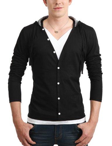 9Xis Mens Casual Button-Down Denim Jacket BLACK M (9MO029)
