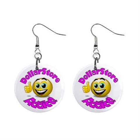 Dollar Store Addict Novelty Dangle Button Earrings
