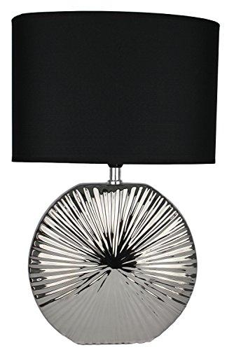 Tischlampe-Leuchte-47cm-Silber-schwarz-modern-Tischleuchte-Keramiklampe-mit-schwarzem-Stoffschirm-13304-Nachttischlampe
