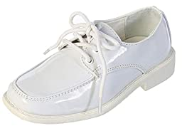 DressForLess Boys Moc Toe Dress Shoes, White, Y1