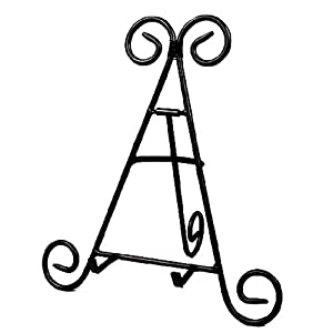 """Darice 12"""" Tall Black Iron Display Stand Holds Cook Books, Plates, Pictures & More! (1)"""