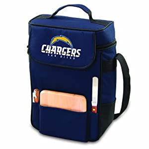 NFL San Diego Chargers Duet Insulated 2-Bottle Wine and Cheese Tote by Picnic Time