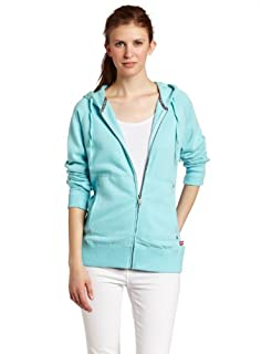 Dickies Womens Zip Rib Inset Hoodie,Ice Blue,X-Small