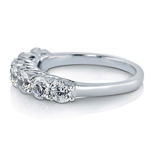 цена на BERRICLE Sterling Silver with Swarovski Zirconia 7 Stone Womens Wedding Bridal Anniversary Ring