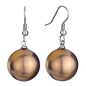 Pugster 16mm Golden Brown Shell Pearl Beads Ball Dangle Earrings