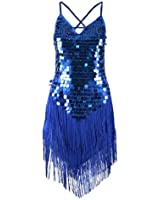 Sexy One Shoulder Sparkling Tassels Ruffled Skirt Latin Dance Party Dress