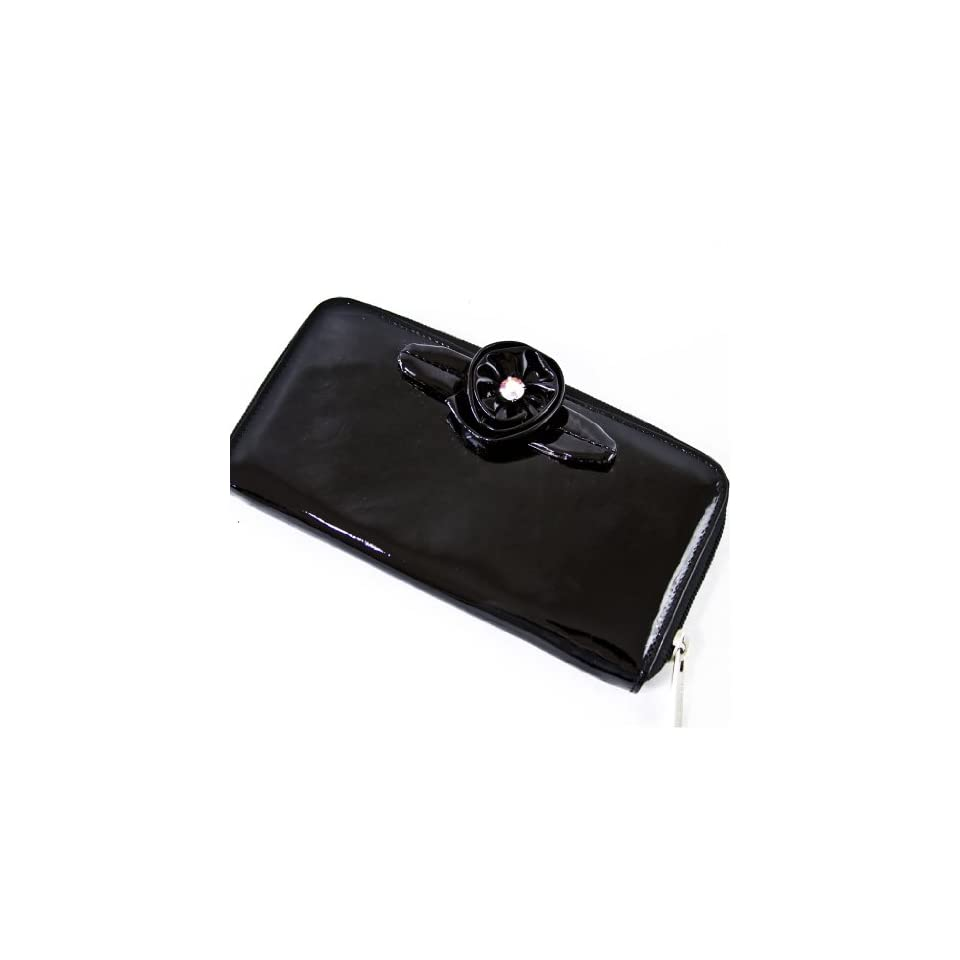 Renato Angi Italian Designer Black Leather Swarovski Rose Wallet Clutch Purse Bag Card Holder Women