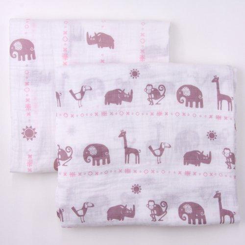 Bambino Land Muslin Organic Blankets Jungle Animals Girl - 2 Pack