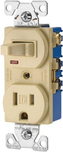 Cooper Wiring Devices TR274V 3-Wire Receptacle Combo Single-Pole Switch with Tamper Resistant 2-Pole, Ivory