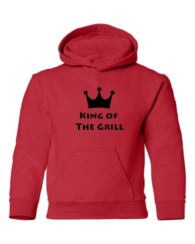 Tasty Threads King Of The Grill Kids Hooded Sweatshirt (Red, Small)