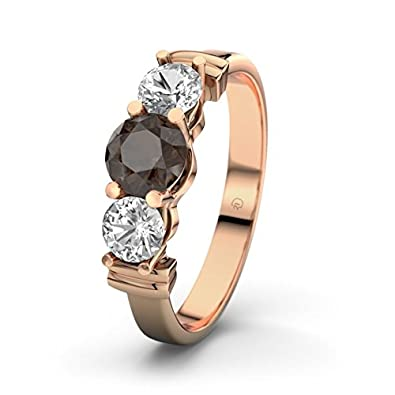 Sabrina 21DIAMONDS Women's Ring Smoky Quartz Brilliant Cut Engagement Ring, 18 K Rose Gold Engagement Ring