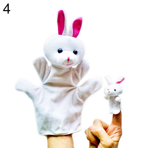 2Pcs Lovely Kids Baby Plush Toys Finger Puppet Talking Props Animals Hand Puppets 6X96^White.