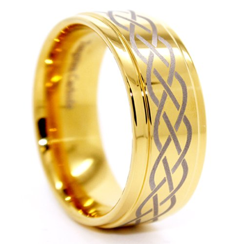 Blue Chip Unlimited - Unique 9mm Golden Celtic Criss-Cross Tungsten Ring Wedding Band Designer Fashion Engagement Ring Size 10