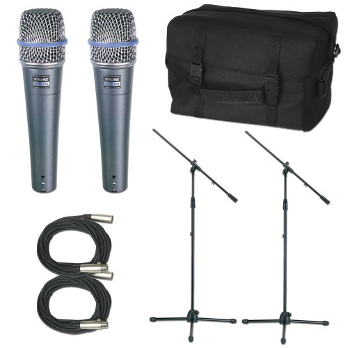 Shure 2 X Beta57A Mic Pack W/Stands Cables Bag