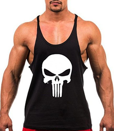 a148a70c0f28da SLSY Men s Gym Tank Top Skull Printed Workout Fitness - Import It All