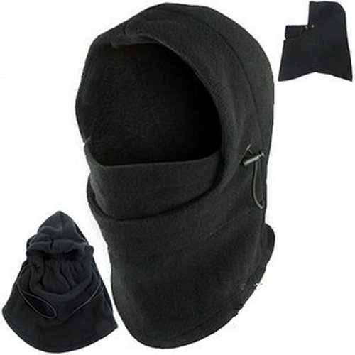 Face Fleece Thick Black Full Cover Face Mask