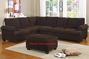 L shape Sectional Sofa in Chocolate CORDUROY with Reversible Chaise