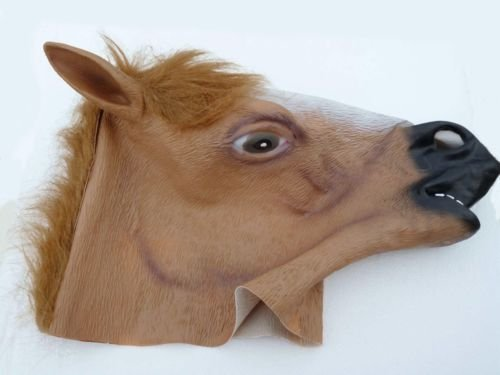 [Funny Latex Rubber Full Face Horse Head Mask Scary Halloween Costume ZOO Party] (Jack Torrance Costume)