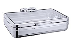 Premium 1/1 Full-Size Chafing Dish with Full Glass Window Lid - Induction Compatible.