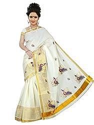Kerala Cotton Vari Border Vari Peacock Design Embroidery Saree