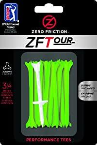 Zero Friction Tour 3-Prong Golf Tees (3-1/4 Inch, Citrus Green, Pack of 30)