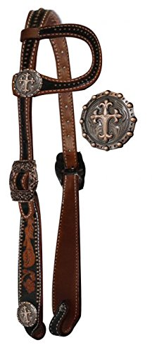 Showman Horse Vintage Style One Ear Headstall with Raised Celtic Cross Conchos with 7