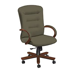 National Office Furniture Remedy High Back Executive Wood Office Chair, Amber Cherry, Grey Faux Leather