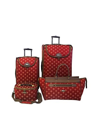 American Flyer Fleur De Lis 4-Piece Luggage Set, Red