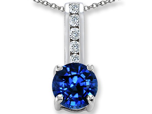 Original Star K(tm) Round 7mm Created Sapphire Pendant in .925 Sterling Silver
