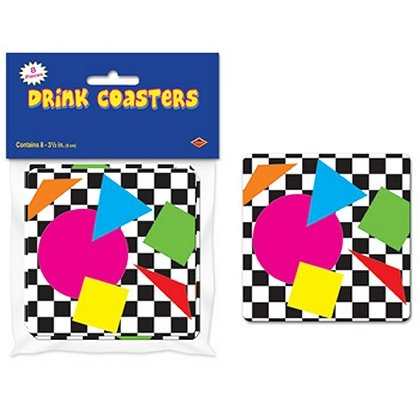Pack of 8 Party Shapes 80's Coasters - Featuring geometric shapes and two tone chequerboard, these colourful (and very 80s) coasters will look great on your table(s).