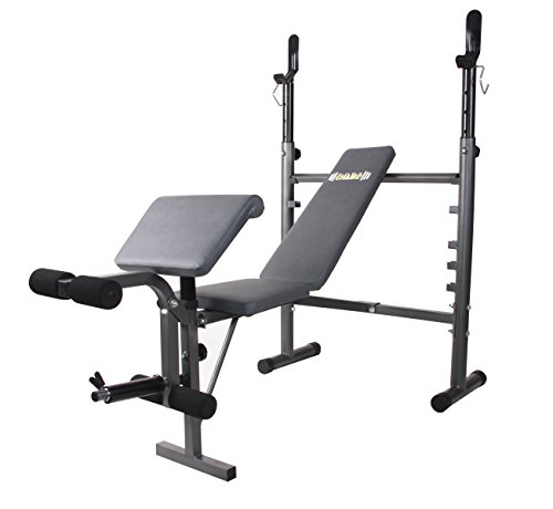 Body Champ Mid-Width Weight Bench with Preacher Curl and Leg Developer, Dark Gray/Black