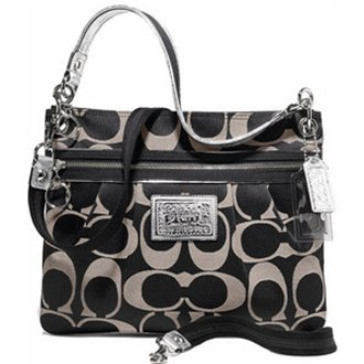 ... Signature Poppy Hippie Shoulder Crossbody Bag Purse 15318 Black White
